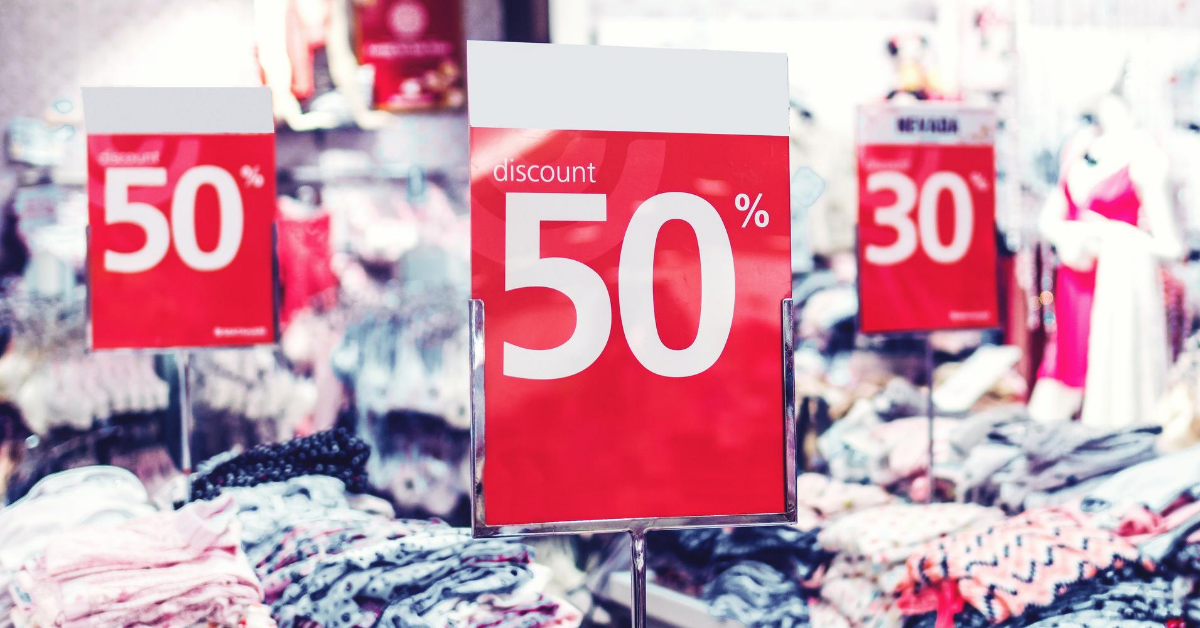 red retail sale signs clothing