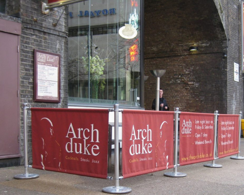 red cafe barrier bar street