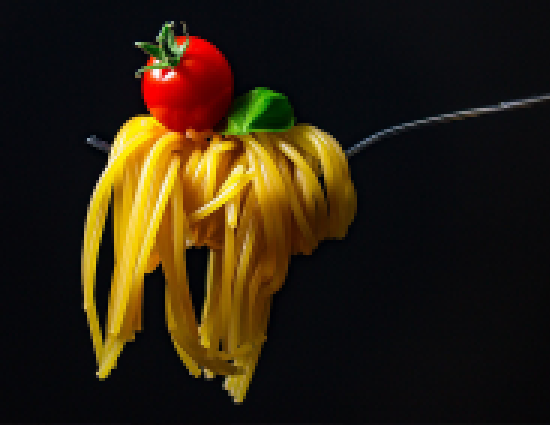 Spaghetti and Tomato on Fork
